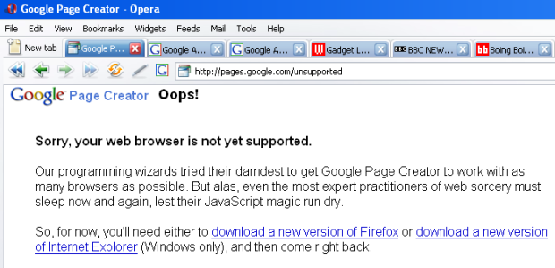 Google Unsupported Browser error page
