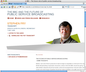Stephen Fry and The Future Of The BBC Transcript